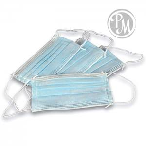 Маска защитная 3-х слойная для лица на резинке 50шт в упаковке (а)